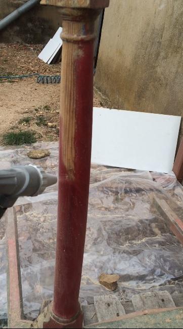 Quitando pintura con chorro de arena
